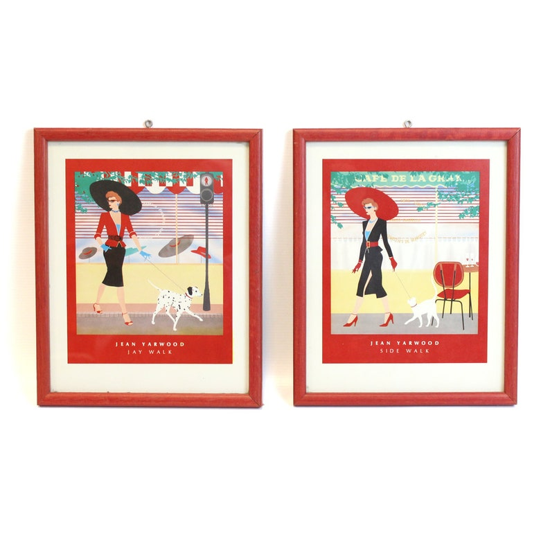 Pair of Framed 1980's Jean Yarwood Prints image 0