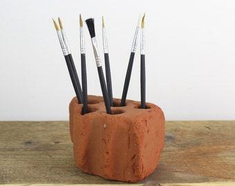 Sea Tumbled Brick Pen/Brush/Toothbrush Holder, sourced from the North Devon Coastline