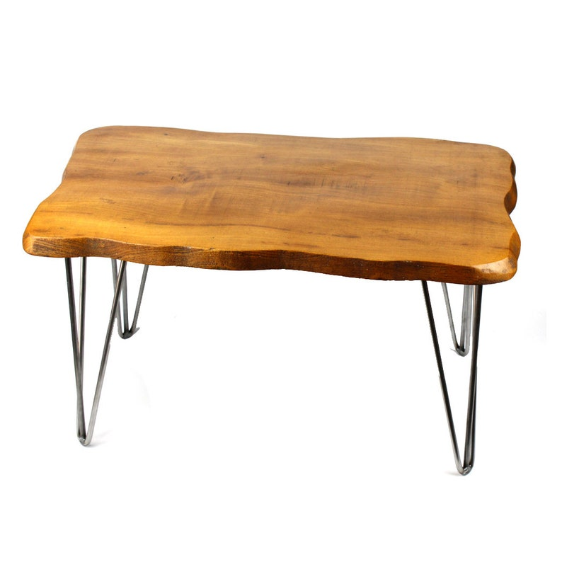 English Elm Mid Century Coffee Table with Steel Hairpin Legs  image 0