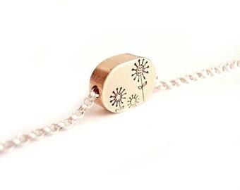Daisy Flower Field - Solid Brass Oval Pendant Free Floating Hand Stamped Mixed Metal Necklace Jewelry