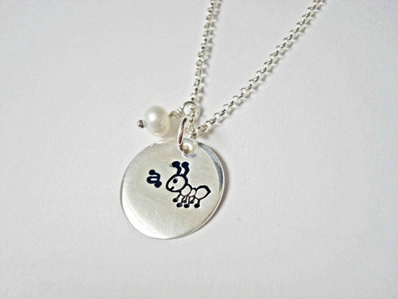 A For Ant Handstamped Sterling Silver Jewelry Necklace Pendant Teacher Gift or an Ant Fan