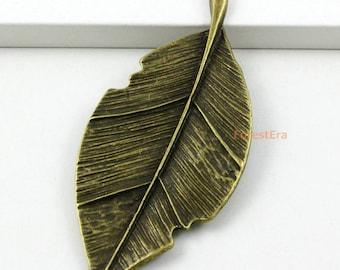 4Pcs Antique Brass Leaf Charm Leaf Pendant 81x31mm (PND424)