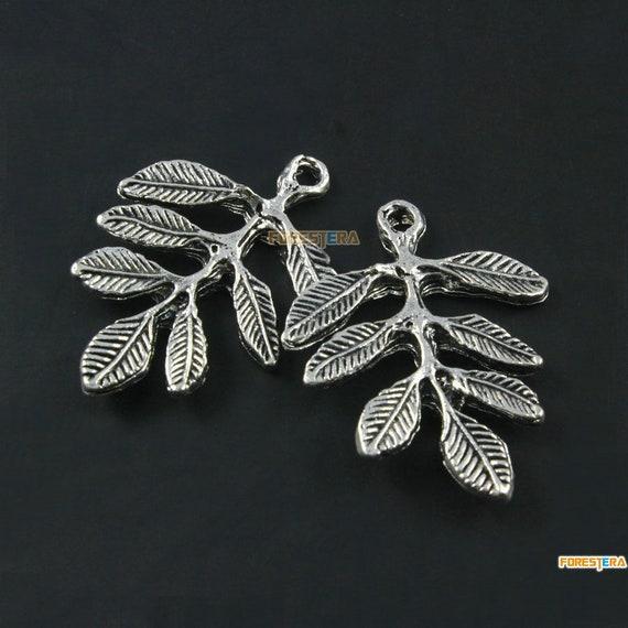 15855*20PCS Antique Silver Vintage Plant Foliage Pendant Apricot leaf Charm