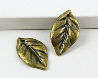 20Pcs Antique Brass tree leaf Charm tree leaf Pendant 23X13mm (PND494)
