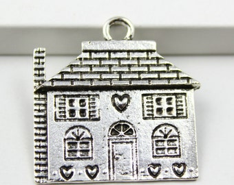 10Pcs Antique silver house Charm house Pendant 30x25mm (PND351)