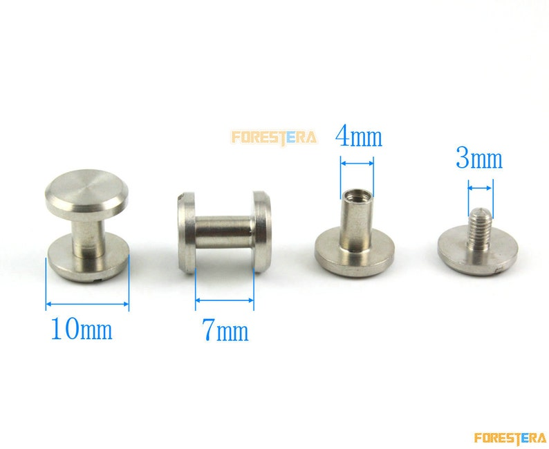SSF10X7 20 Set 10*7mm 304 Stainless Steel Rivet Chicago Screw for Leather Craft Flat Head