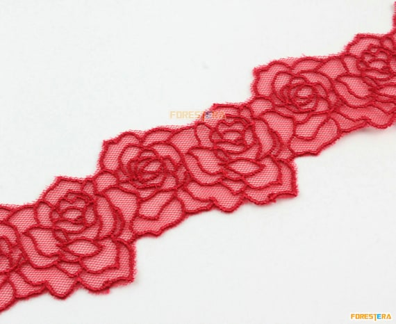 baby pink red black floral tulle lace trim sewing embroidered lace trim Per yard