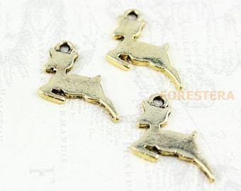 20Pcs Gold deer Charm deer Pendant 15mm (PND268)