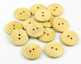 200 Pieces 25mm Tree Wood Button  (W031)