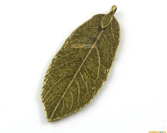 10Pcs Antique Brass Leaf Charm Leaf Pendant 49x19mm (PND1392)