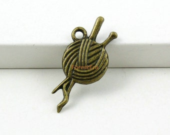 50Pcs Antique Brass needlework Charms needlework Pendants 25x11mm (PND452)
