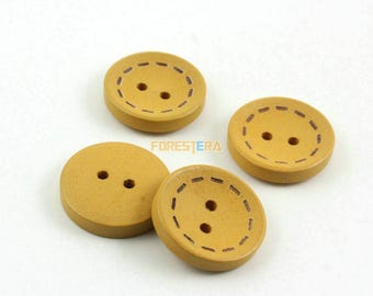 300 Pieces 20mm Round Wood Button Dashed Circle Tawny (W015)