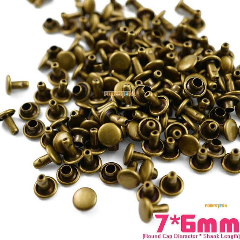 300 set 10*6mm Gold Double Cap Round Rapid Rivet Punk Rock Leathercraft Rivet