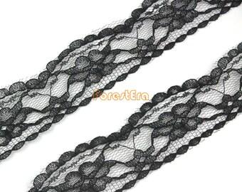 10 Yards 36mm Black Floral Emboridery Lace Trim Lace Ribbon (LACE01-27250)