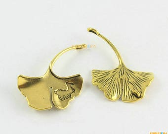 10Pcs Antique Gold Ginkgo Tree Leaf Charm Ginkgo Leaf Pendant 42x32mm (PND1639)