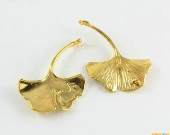 10Pcs Gold Ginkgo Tree Leaf Charm Ginkgo Leaf Pendant 42x32mm (PND1638)