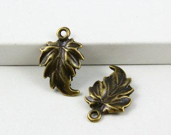 25Pcs Antique Brass tree leaf Charm tree leaf Pendant 19x12mm (PND487)