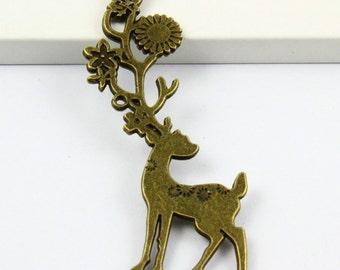 6Pcs Antique Brass Deer Charm Deer Pendant 70x20mm (PND358)