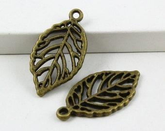 30Pcs Antique Brass tree leaf Charm tree leaf Pendant 27x14mm (PND482)