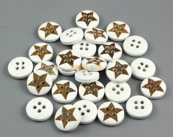500 Pieces 13mm White Star Wood Button  (W028)
