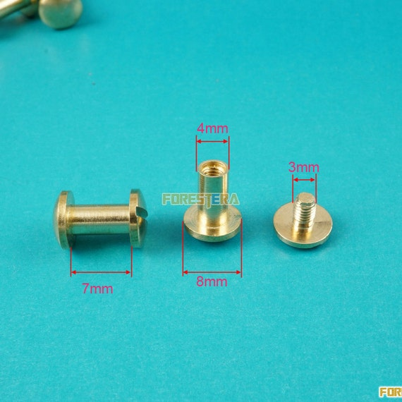 50 Set 10*14mm Solid Brass Rivet Chicago Screw for Leather Craft Cambered