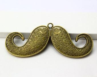 2Pcs Antique Brass moustache Charm moustache Pendant 75x30mm (PND291)