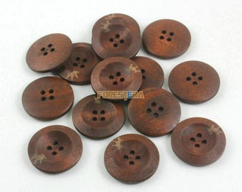 200 Pieces 25mm Brown Wood Button  (W032)