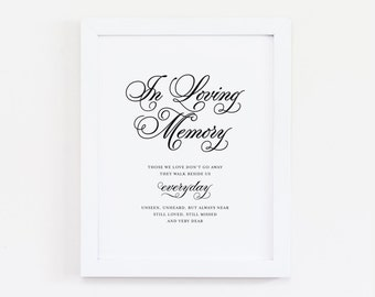 """Instant Download - Classical In Loving Memory Wedding Print - 8""""x10"""""""