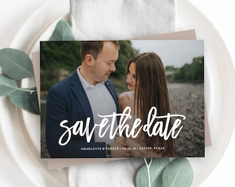 Editable Template - Instant Download Brushed Save the Date Photo Card Announcement in Horizontal & Vertical orientations