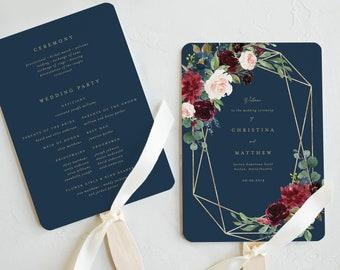 Editable Template - Instant Download Geometric Fall Elegance Wedding Program Fan