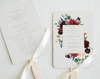 Editable Template - Instant Download Fall Elegance Wedding Program Fan