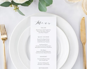 Editable Template - Instant Download Soft Calligraphy Dinner Menu available in Two Sizes