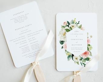 Editable Template - Instant Download Spring Romance Wedding Program Fan