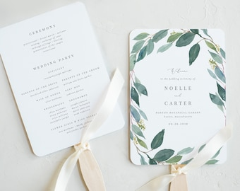 Editable Template - Instant Download Leafy Wedding Program Fan