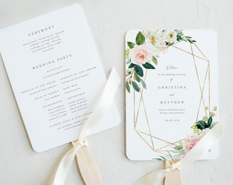 Editable Template - Instant Download Geometric Spring Romance Wedding Program Fan