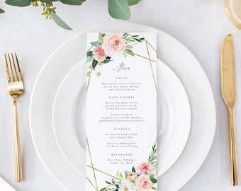 Editable Template - Instant Download Geometric Spring Romance Dinner Menu