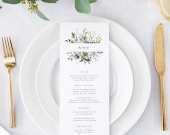 Editable Template - Instant Download Dusty Blue Florals Dinner Menu