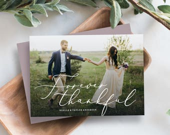 Editable Template - Instant Download Forever Thankful Thank You Photo Card & Post Card