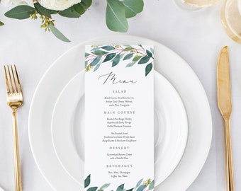 Editable Template - Instant Download Leafy Dinner Menu