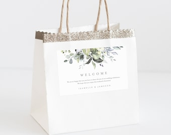 Editable Template - Instant Download Dusty Blue Florals Welcome Bag Labels