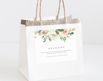 Editable Template - Instant Download Spring Romance Welcome Bag Labels