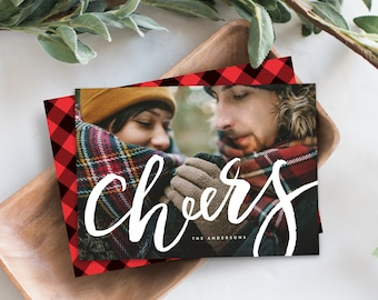 Editable Template - Instant Download Lettered Cheers Holiday Photo Card