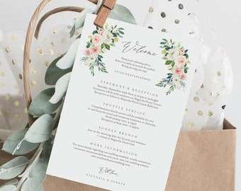 Editable Template - Instant Download Spring Romance Wedding Weekend Welcome Itinerary