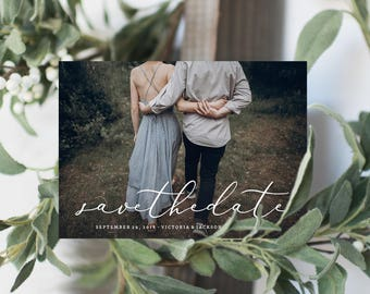 Editable Template - Instant Download In Love Save the Date Photo Card Announcement