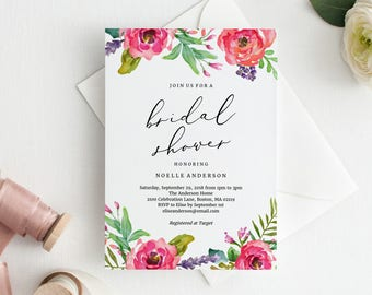 Editable Template - Instant Download Bright Summer Bridal Shower Invitation