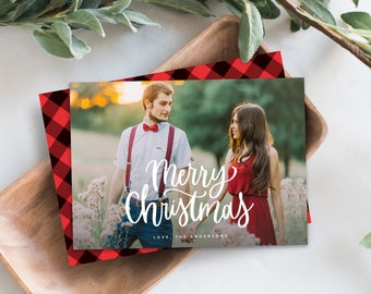 Editable Template - Instant Download Lettered Holiday Photo Card