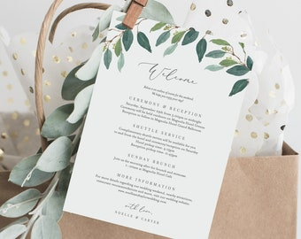 Editable Template - Instant Download Leafy Wedding Weekend Welcome Itinerary