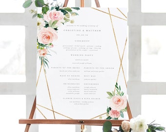 Editable Template - Instant Download Geometric Spring Romance Wedding Ceremony Program Sign in 2 Sizes