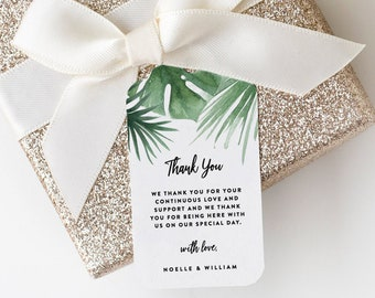 Editable Template - Instant Download Tropics Wedding Gift Tags