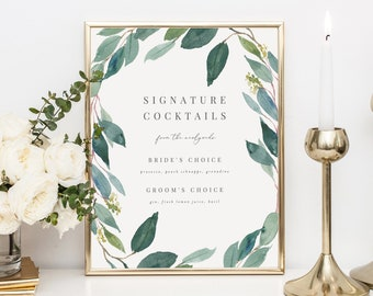 Editable Template - Instant Download Leafy Signature Cocktails Bar Sign